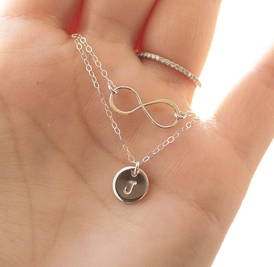 Double Strand Initial Necklace Layered Necklace Infinity