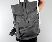 Square Shape Leather Backpack - Grey