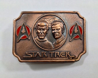 Vintage 1970s Leonard Nimoy William Shatner Star Trek belt buckle Lee 1979 Paramount Pictures Mr Spock Captain Kirk Trekkie