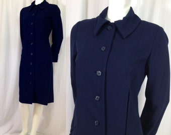 Vintage Bill Blass coat Long Jacket 1970s wool crepe Navy blue Pockets Cufflinks Lightweight Cloth Designer