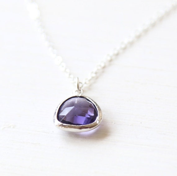 Purple Dawn /  Sterling Silver Pendant Necklace / simple everyday delicate modern jewelry