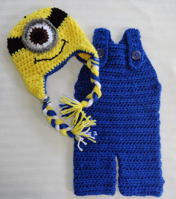 Crochet Minion Hat and Long Overalls Set Despicable Me Photo