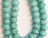 Bug size blue magnesite Turquoise faceted  rondelle  beads (15x10mm),