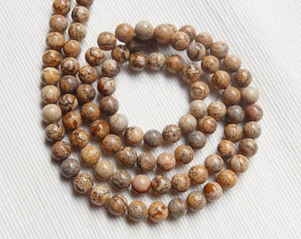 8mm Picture jasper round beads  FULL STRAND