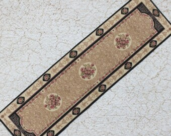 Miniature Dollhouse Carpet Runner Camel Black Rust with Floral in 1:12 scale