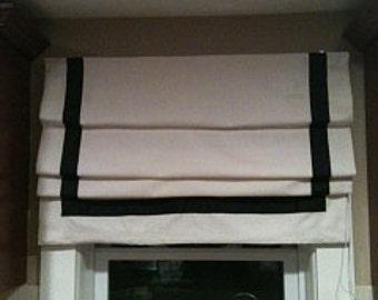 Flat Roman shade with ribbon trim