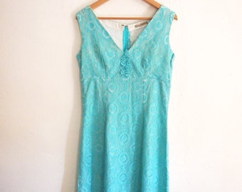 Lace Dress. Romantic Lace Dress. Vintage inspired Dress,Turquoise Cotton Lace Cocktail Large dress. Size L. Free Shipping