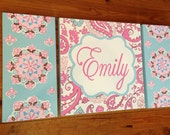 large colorful nursery art - personalized- hand painted- inspired by Brooklyn bedding- pink aqua- floral paisley