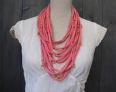 Coral Multistrand Cotton Jersey Necklace with Gold Accent Rings