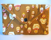 Secret Pocket Matryoshka Nesting Doll Clutch Purse or E-Reader Mini Tablet Case