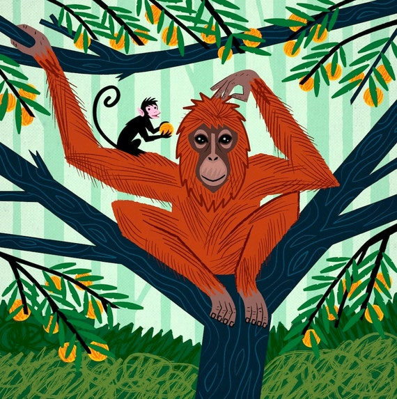 The Orangutan in The Orange Trees - Children's Animal Art - Nursery art - Nursery Decor -  limited edition poster art print by Oliver Lake