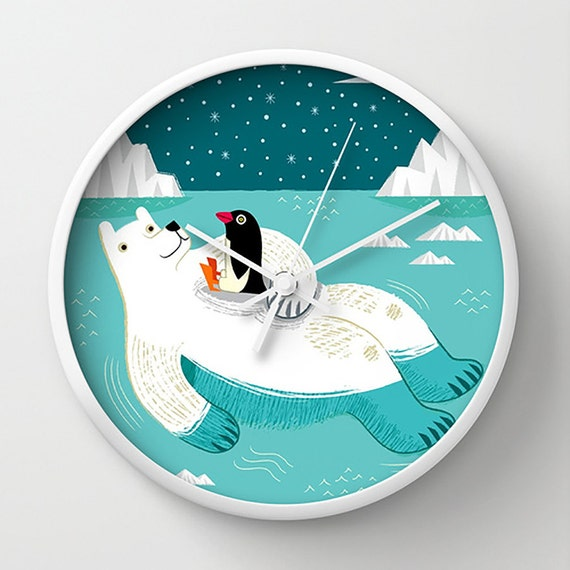 Hitching A Ride - illustrated wall clock - by Oliver Lake