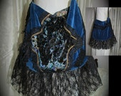 Blue Velvet Bag, black lace turquoise velvet, handmade slouchy gypsy bag, black lace fringe embellished romantic sexy purse