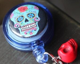Sugar Skull Badge Holder Retractable Badge Holder