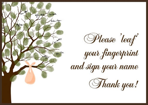 Baby Shower Guest Book Fingerprint Tree, Baby Shower Guestbook, Thumbprint  Signature Tree With Baby Bundle, Birthday DIGITAL PRINTABLE FILE