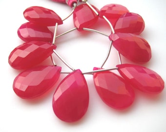 Pink Chalcedony Beads, Briolette Beads, Pear Beads, Faceted Gemstones, 11 Pieces, 24x16mm Each, Wholesale Price