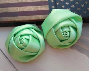 8Pcs roses, satin roses, Mint satin rose flowers, satin flowers, fabric flowers, applique rose, ribbon rose 35x18mm