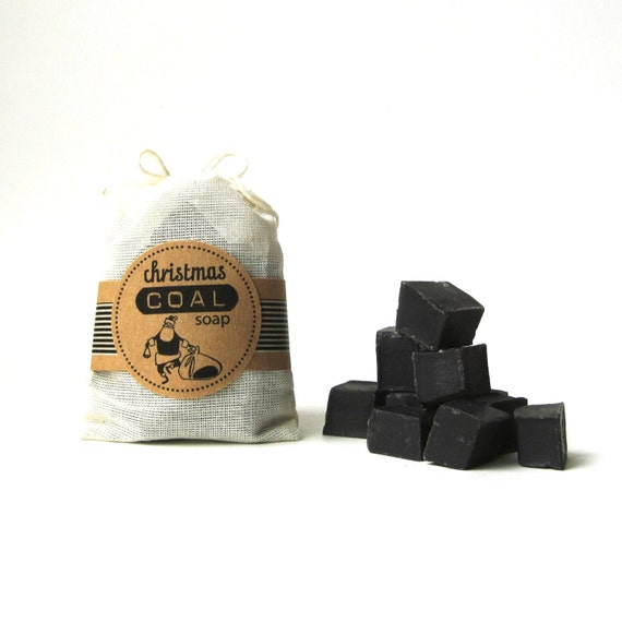 Christmas Coal Soap -  Black Unscented Vegan Soap - Lump of Coal Soap