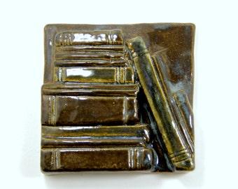 Bookshelf Tile 4x4 - Dark Blue Rustic Ceramic Tile Book Lover Reading Group Gift Graduation Books