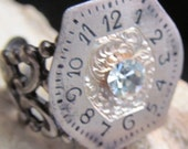 Steampunk Vintage engraved Victorian Watch Face Ring Gorgeous white Rhinestone R 23