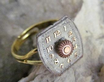 Steampunk Buren Watch Face Ring R 18