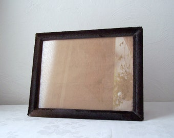 vintage cowhide - with hair - picture frame - brown - black hair or fur covered photo holder