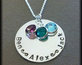 3 Name Hand Stamped Personalized Mommy Grandma Necklace Grandchildren
