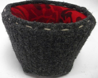 Handmade Gray Flannel Felted Wool Camo Sweater Basket
