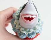 Scary Sharks Cupcake Toppers ( 5 Sharks, 3 Shark Fins, 3 Lifesaver, 1 Birthday Message Plate)