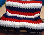 New England Patriots Team Colors Afghan Hand crochet by kams-store.com