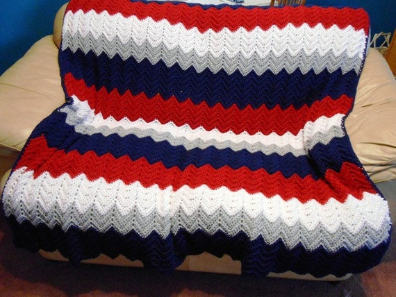 Free Crochet Pattern For New England Patriots Afghan : New England Patriots Team Colors Afghan Hand crochet by