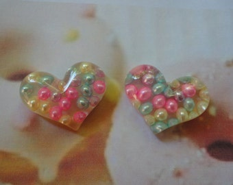 Kawaii colorful pearl in heart cabochons decoden deco diy charm  2 pcs---USA seller