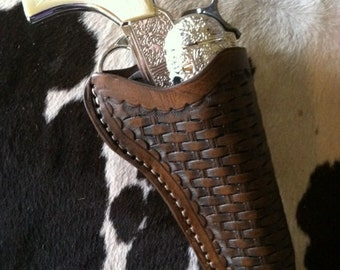 Kids Leather Holster with Toy Gun- Basket Weave