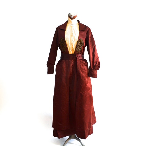 RESERVED Edwardian Dress, Silk, Beaded, Burgundy/ 1910, Gown, Lace, beaded/ Downton Abbey, Museum quality