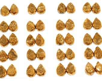 Grade AA Faceted Amazing 1 Piece Gold Teardrop 13x18mm Calibrated Druzy Druse Cabochon B86D5750