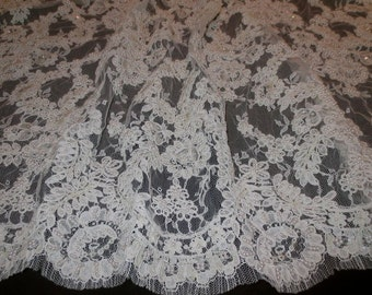 Ivory Heavily Beaded Intricate French Alencon Lace Fabric--One Yard