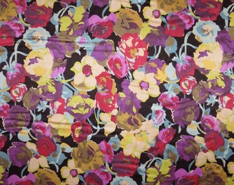 Muted Tones Floral Print Pure Silk Charmeuse Fabric--One Yard