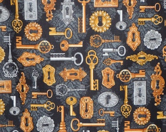 REMNANT--Black Gold and Gray Key Print Pure Cotton Fabric--1/2 Yard