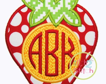 "Strawberry Monogram Applique Design 4x4, 5x7, and 6x10, Shown with our ""Natural Circle"" Font NOT Included  INSTANT DOWNLOAD now available"