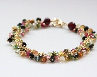 Watermelon Tourmaline Bracelet, Garnet - 14k Gold Filled, Wire Wrapped, Gemstone Cluster, January October Birthstone