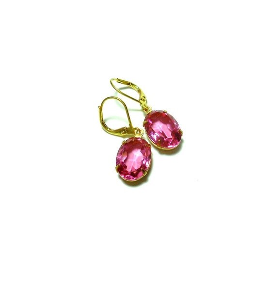 Rose Earrings, Retro Glam, Art Deco Earrings, Pink Dangle Earrings, Old Hollywood Earrings, Estate Jewelry, Vintage Glass Rhinestone Earring