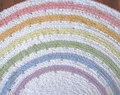 "50"" Pastel Rainbow Crocheted Rag Rug"