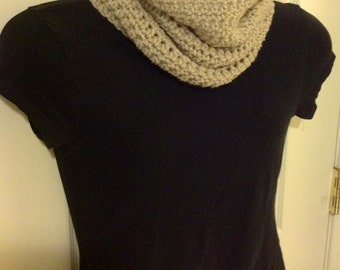 Tall cowl infinity in charcoal light grey scarf