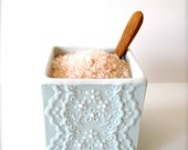Pastel Turquoise Porcelain Lace Salt Cellar with Bamboo Spoon