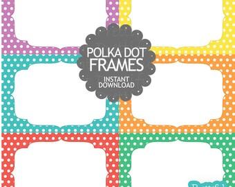 Polka Dot Digital Frames Clip Art Commercial Use Instant Download Set 1