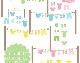 Baby Clothesline Clip Art with Onesie Mitten Bootie Bib in Pink Yellow Green and Blue