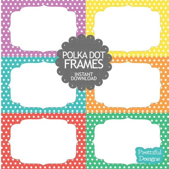 50% Off Sale Polka Dot Digital Frames Clip Art Commercial Use Instant Download Set 1 (691)