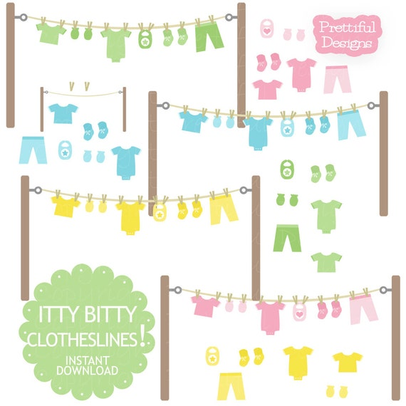 Baby Clothesline Clip Art with Onesie Mitten Bootie Bib in Pink Yellow Green and Blue (751)