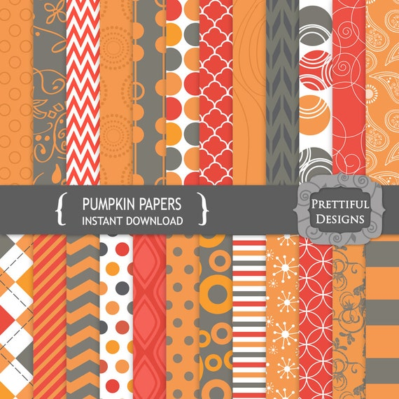 50% off SALE Digital Paper Pack  - Personal and Commercial Use - Pumpkin (775)