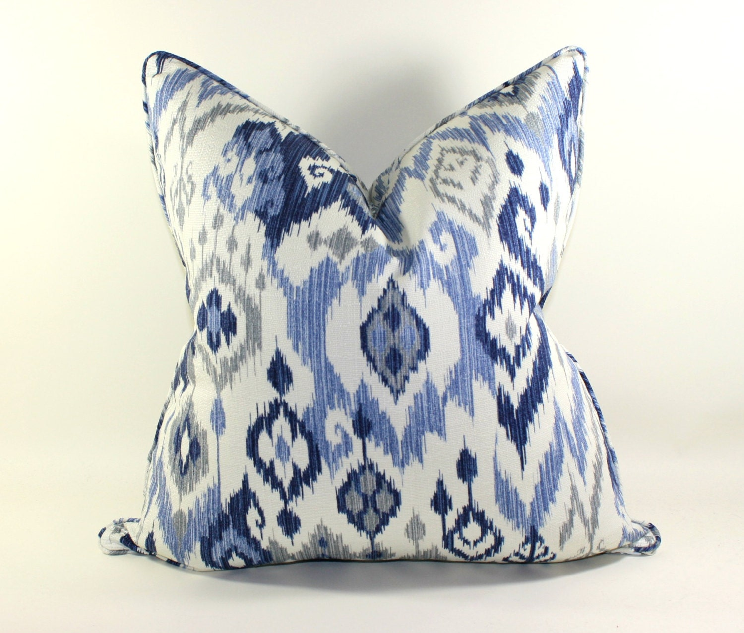 blue and white ikat pillow cover decorative pillow ikat. Black Bedroom Furniture Sets. Home Design Ideas